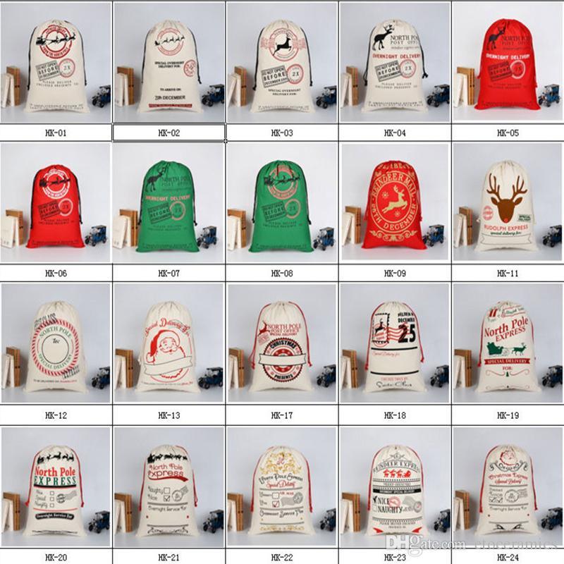 Sacs de cadeau de Noël Grand sac de toile lourd organique Sac de cordon de sac de sac de Santa avec des rennes Père Noël Sacs de sac pour des enfants
