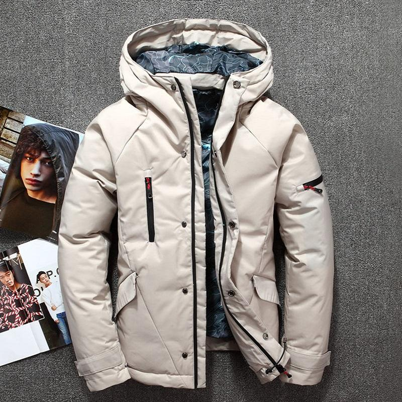04ba7c7f90 Men s winter jacket grey red black white fashion stylish zipper duck down  jacket men thicken Russia winter snow overcoat brands