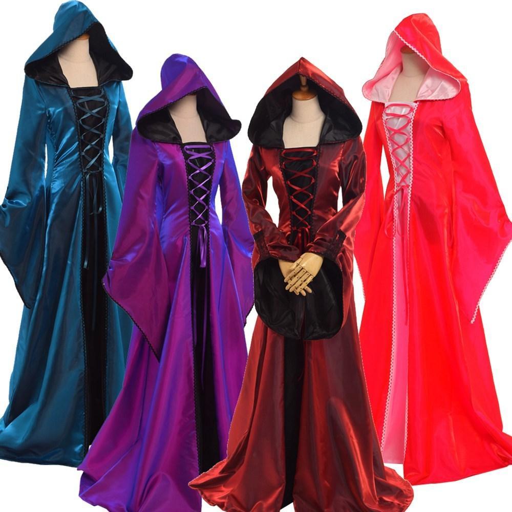 d69f8d1f4 Compre Disfraz De Halloween Sexy Para Mujer Retro Victorian Renacimiento Medieval  Trompeta Manga Con Capucha Vestido De Todos Los SantosVestido S920 A ...
