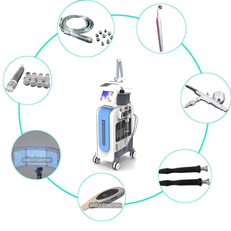 7 IN 1 Hydra Dermabrasion Diamond Microdermabrasion Jet Peel BIO Microcurrent Skin Scrubber PDT LED Light With Hydra Facial Machine