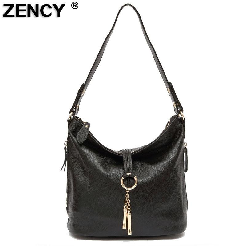 ee0e0fccfa1816 2019 Fashion ZENCY Fast Shipping 100% Genuine Leather Women Shoulder Bags  Female Small Handbag Ladies' Cross Body Messenger White Beige Bag