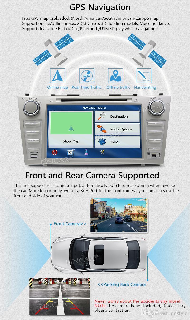 Eincar Camera + Android 7.1 2GB + 32GB Octa Core 8''Car Autoradio para TOYOTA CAMRY 2007-2012 2 Din Car Radio Estéreo para coche Reproductor de DVD Bluetooth