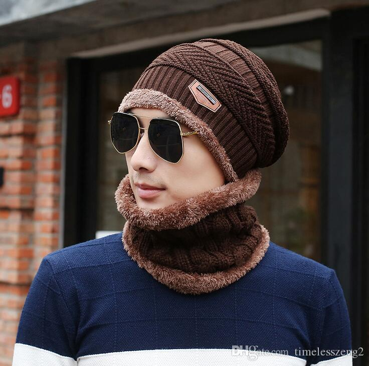 2 개 / 많은 겨울 비니 모자 스카프 세트 성인 어린이 크기의 따뜻한 니트 모자 두꺼운 니트 비니를 들어 남성 여성
