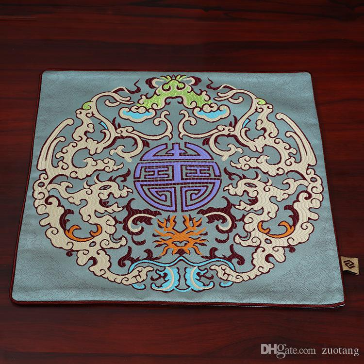 Dragon Luxury Chinese Silk Fabric Placemats Dining Table plate Mat bowl Large Square Insulated Mat Protective Pad size 33x33cm