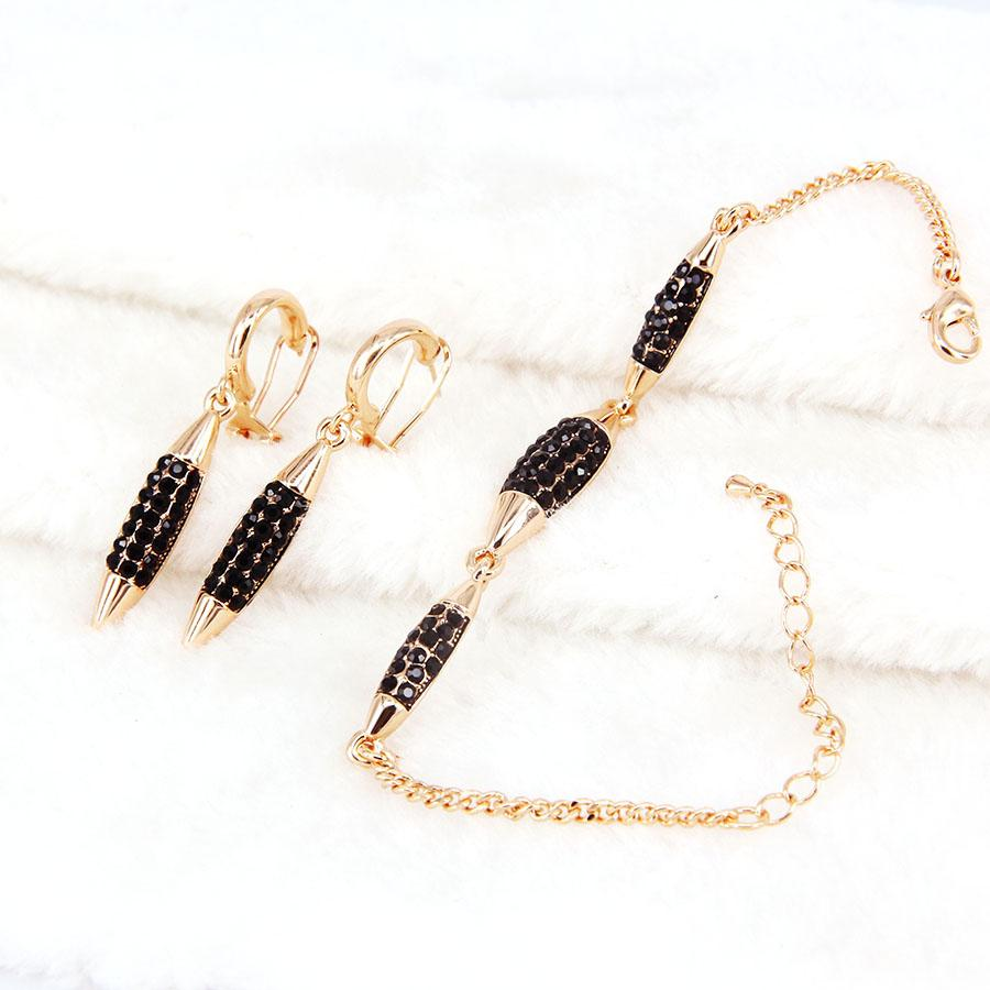 jewelry set luxury african bridal wedding crystal rose gold color necklace earrings bracelet jewerly sets for women girls party