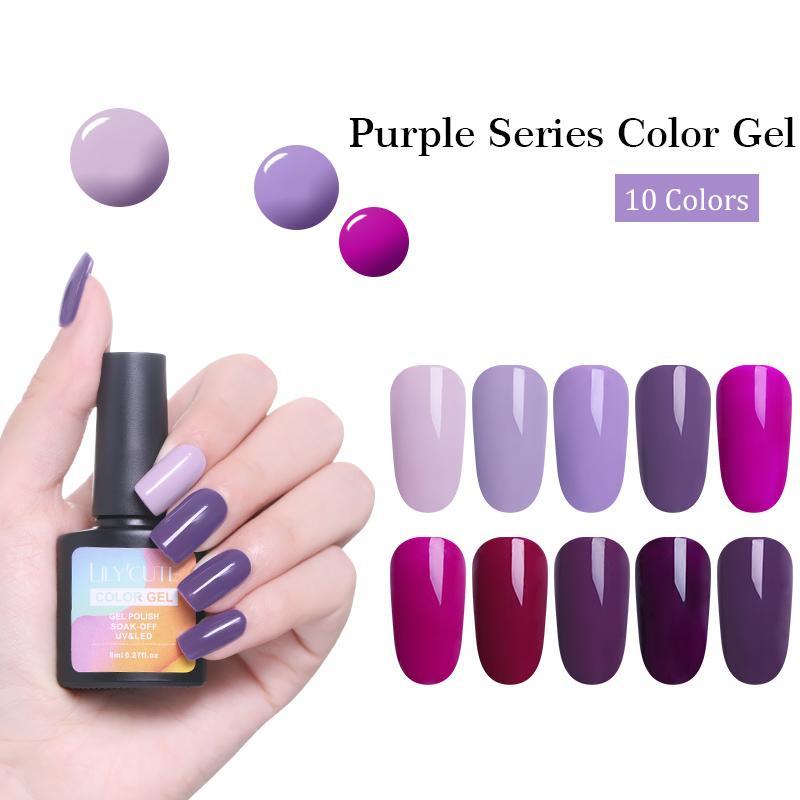 LILYCUTE Plum Nail Gel Polish 8ml Soak Off UV Light Purple Pure ...