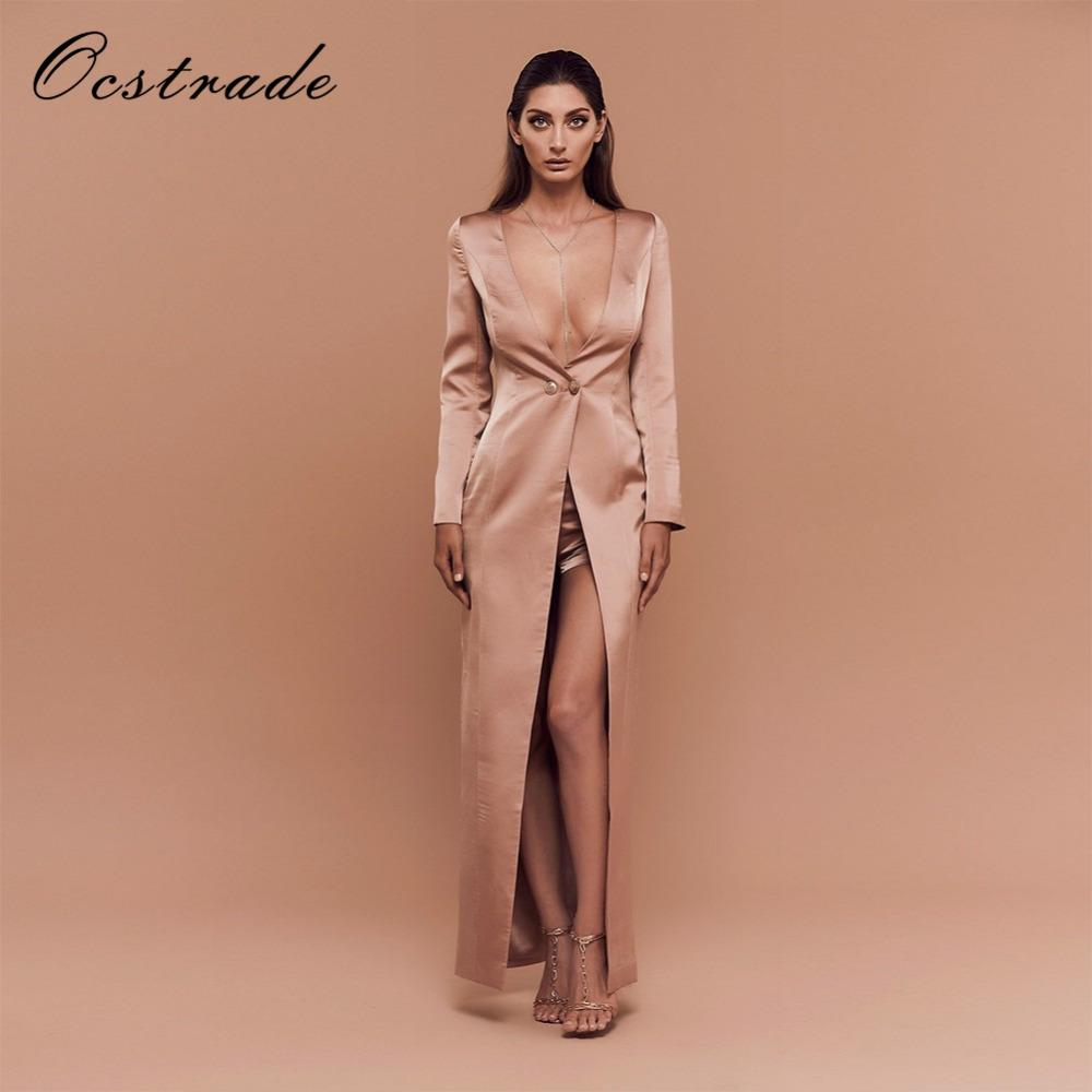 Ocstrade Runway Women Set Summer 2017 NewFashion Champagne High Waist Long  Sleeve Sexy Bra Strapless Bodycon Sets Split UK 2019 From Matilian 3c3e9422f47a