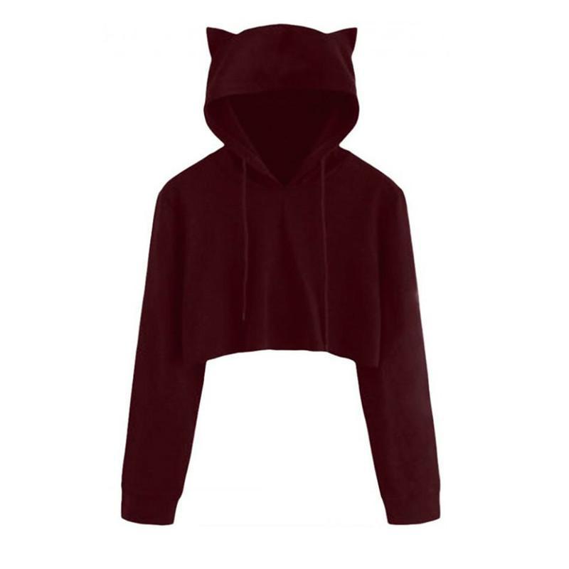 21f59fb0631 2019 Cute Womens Sweatshirts Hoodie Crop Tops Solid Cat Ear Long Sleeve  Cropped Sweatshirt Hooded Pullover Tolstovka Online with  26.51 Piece on ...
