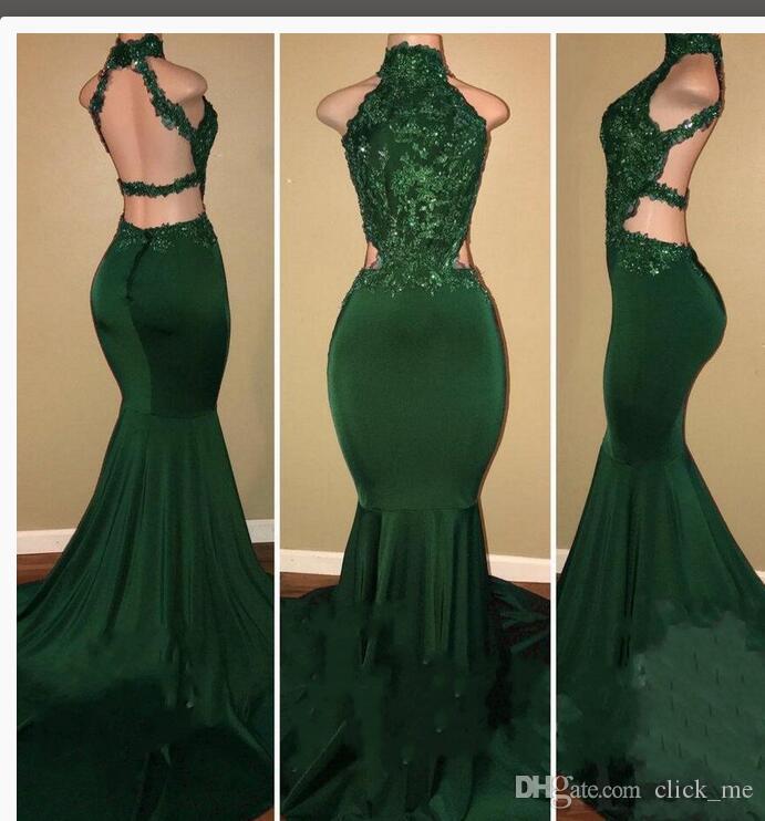 Темно-Зеленый Африканский Пром Платья 2018 Высокая Шея Sexy Backless Русалка Вечернее Платье Вырез Сторона Блестки Аппликации Платья Партии Vestidos