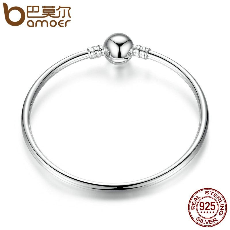 BAMOER Authentic 100% 925 Sterling Silver Classic Snake Chain Bangle    Bracelet Luxury Sterling Silver Jewelry S925 PAS903 22kt Gold Bangles Cheap  Bangle ... bc8a8e7a08b2