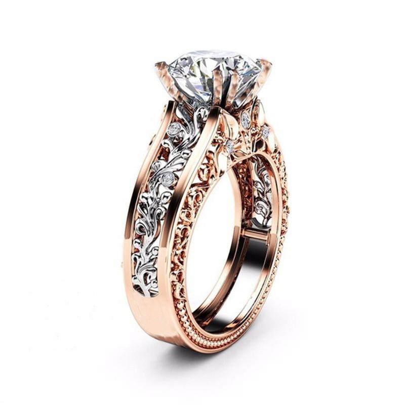 8de028f01 XS CZ Stone Ring Jewelry Bague Femme Fashion Rose Gold Color Leaf Crystal  Wedding Rings for Women Jewelry Drop Shipping Gift
