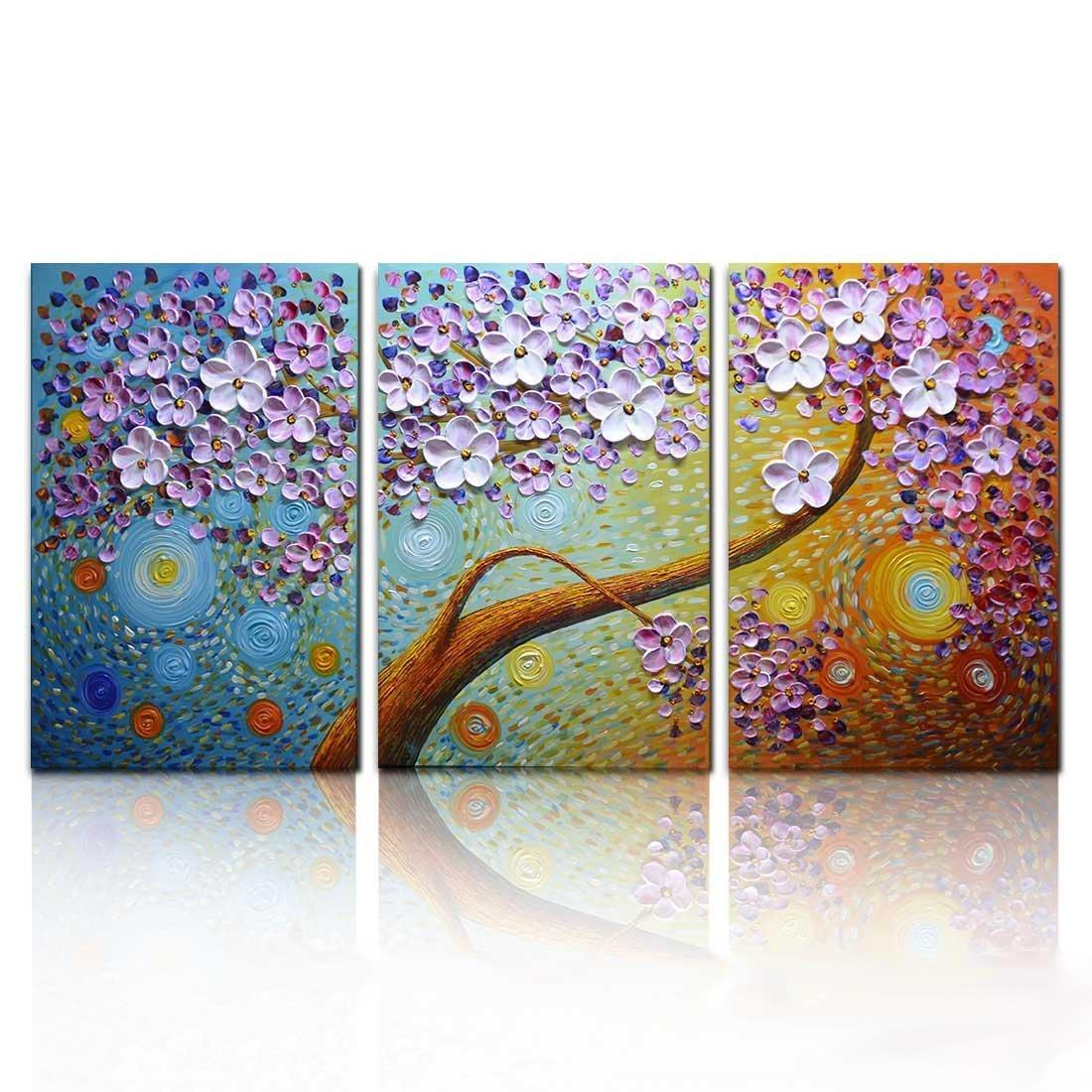 2018 100 hand painted 3d floral paintings on canvas horizontal large wall art for living room bedroom 3 panels artwork from sojo 159 18 dhgate com