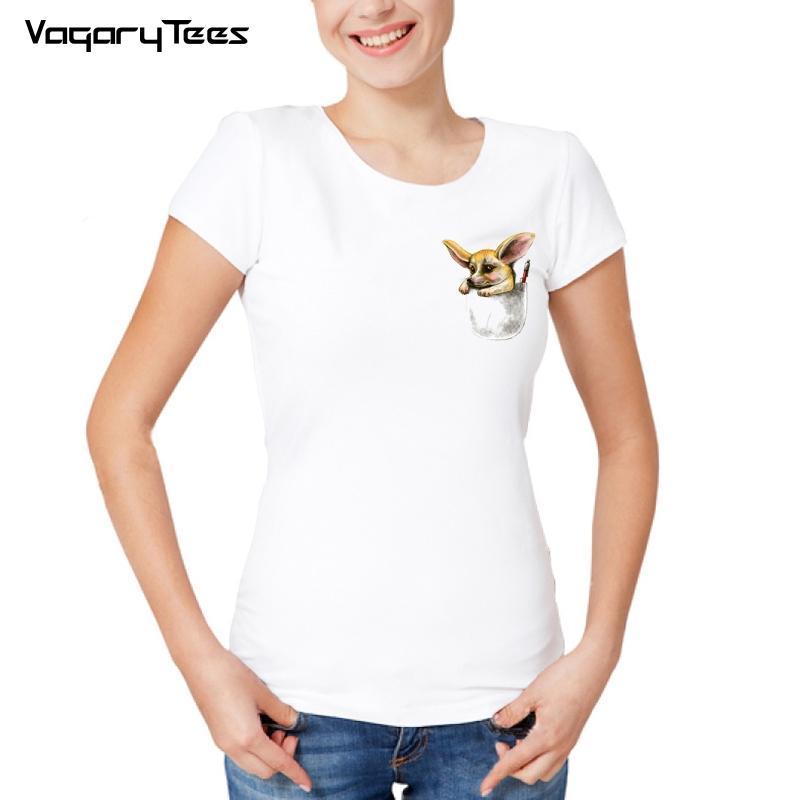 77b2989a19 Women'S Tee 2018 New Fashion Animal Design T Shirt Fashion Women T Shirt  Cute Sketch Pocket Fox Print Casual Tees Summer Tops Funny Political T  Shirts Tee ...