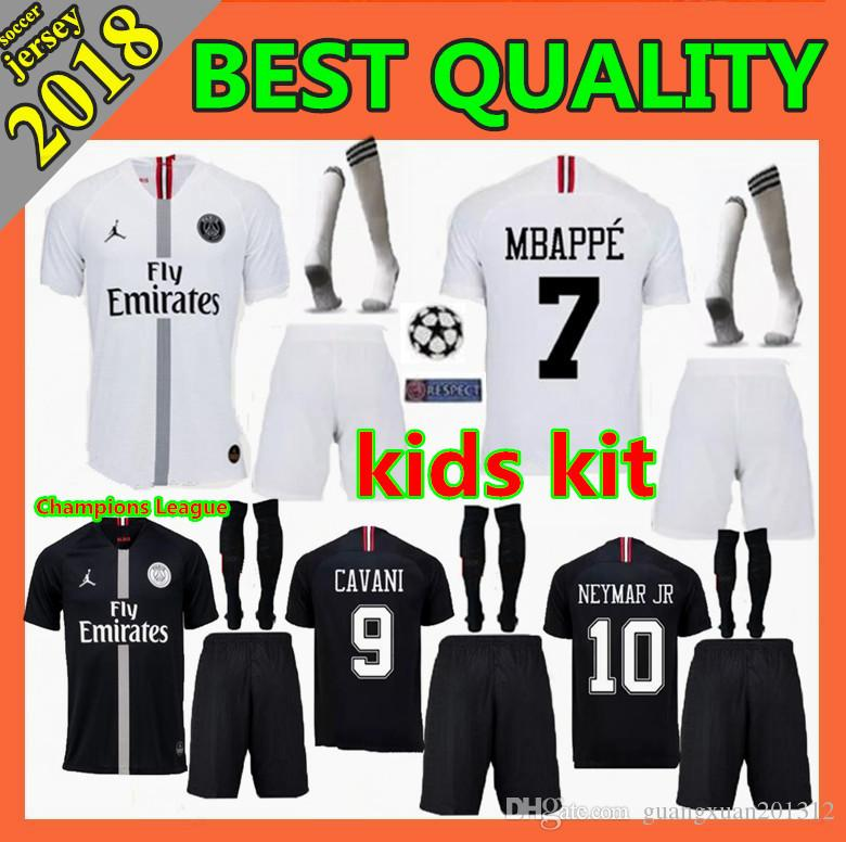 2a4bcbbd7 2019 2018 Psg Kids Kit Soccer Jersey 18 19 Champions League MBAPPE Black  White CAVANI VERRATTI DI MARIA Paris Maillot De Foot Football Shirt From ...