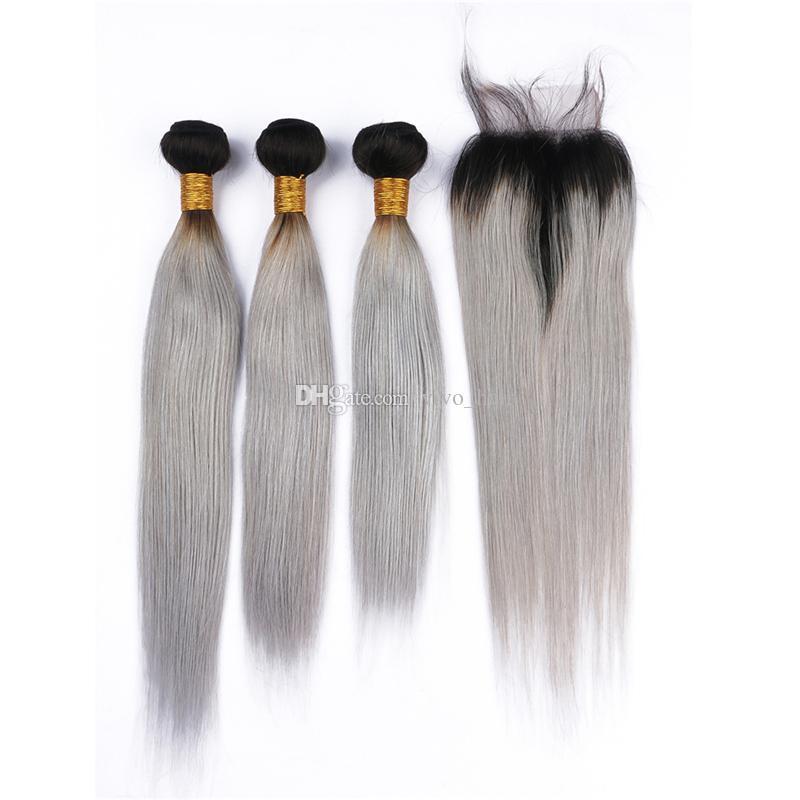 Dantel Kapatma İpeksi Düz Koyu Kökler Gri Ombre saç örgüleri ve Serbest Bölüm Kapatma ile Gri Ombre Brezilyalı Saç Paketler için Siyah