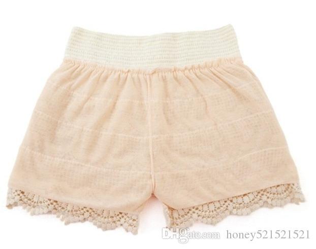 Pantaloncini corti di sicurezza a vita alta con pantaloncini in pizzo a vita alta e design a vita alta, taglia unica SMLXL Beige Nero i