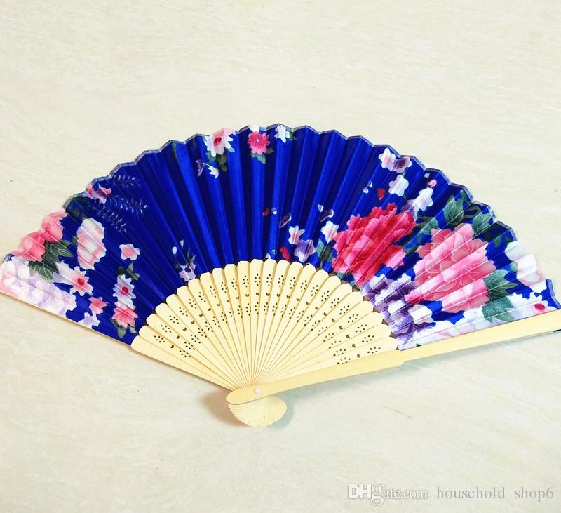 Summer Vintage Bamboo Folding Hand Held Flower Fan Chinese Dance Party Pocket Gifts Wedding Colorful Dropshipping
