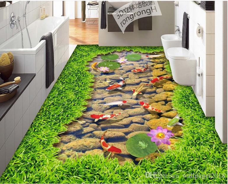 자연 풍경 경내 벽 종이 잔디 스트로브 연꽃 3 차원 스테레오 그림 바닥 타일 그림 자연 사진 벽지 자연