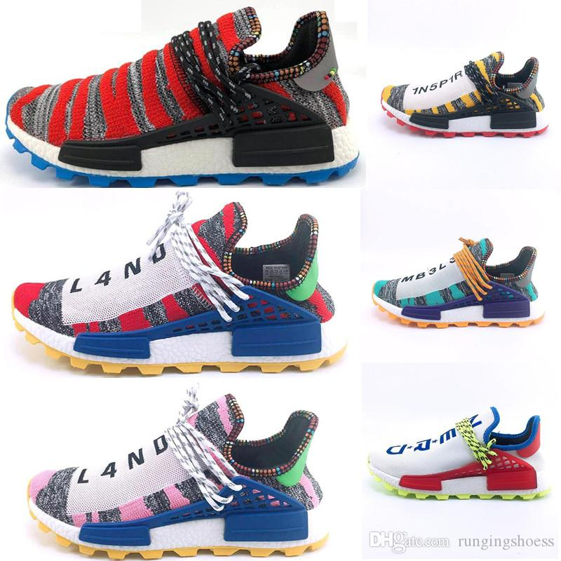 e724f104b 2019 New Arrival Human Race Hu Trail X Pharrell Williams Men Running Shoes Solar  Pack Afro Holi Blank Canvas Mens Trainers Women Sports Sneaker From ...