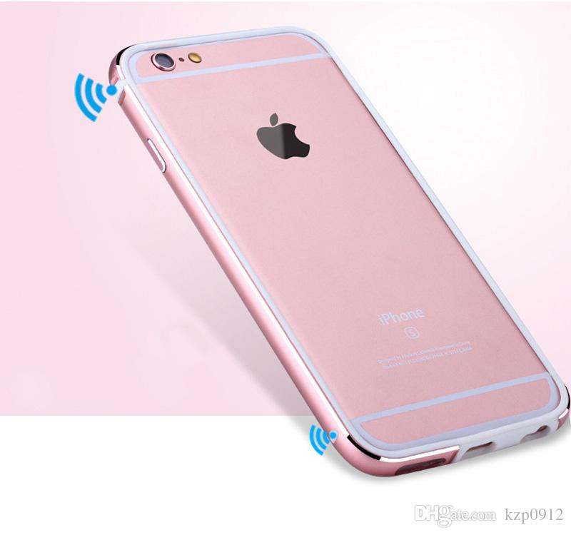 Blueshine alumínio + silicone bumper case para iphone 6 6 s / 6 além de 6 s plus tampa de luxo de metal coque rose gold para iphone6 saco