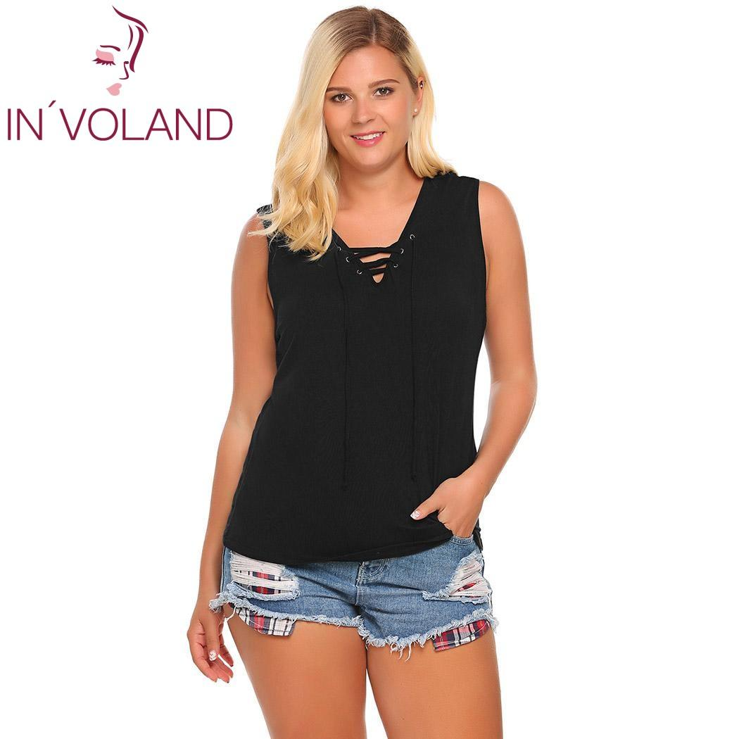 0f452d29 IN'VOLAND Women Tank Tops Oversized Fashion Sleeveless Camisole Solid Loose  Front Lace-Up Fitness Female Beach Camis Plus Size Womens Fashion Tank Tops  ...