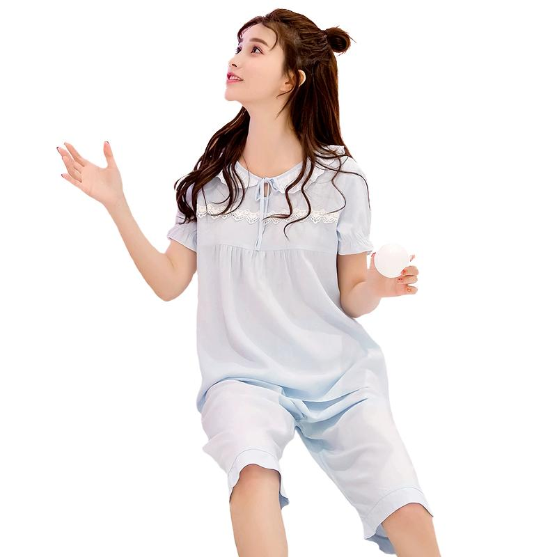 Summer Sleepwear Lady Short Sleeve Pajamas Pijams Set Sweet Shirt+ ... 68378c211