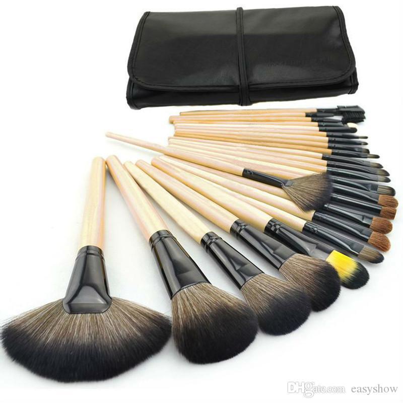 Commercio all'ingrosso! TOP Professional Legno Rosa Nero 24 PZ Set di pennelli trucco Make-up di articoli da toilette Set di pennelli make-up di marca in lana Free DHL
