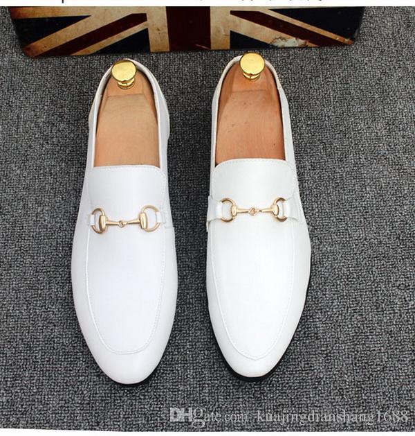Livraison gratuite nouvelle boucle en métal marque hommes chaussures en cuir véritable mocassins.Britannique conduite A pédaleSize 37-44