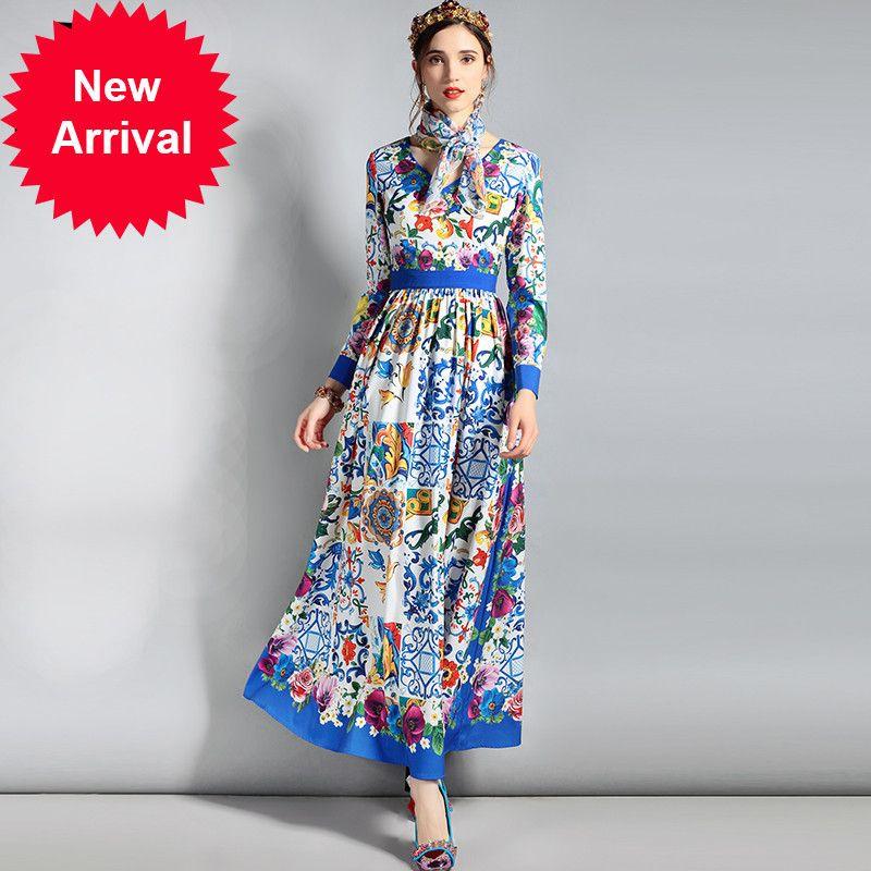 be89e1fa8 Compre Novo 2018 Designer De Moda Maxi Vestido Das Mulheres Manga Comprida  Com Decote Em V Floral Imprimir Casual Vestido Longo Com Cachecol De ...