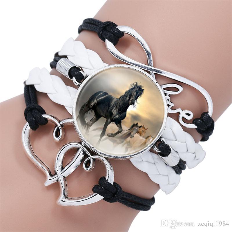 مزيج أنماط الخيول سوار أساور الحصان سحر مضفر الجلود سوار عيد متعدد الطبقات سلسلة سوار jerewelry هدية للمرأة الرجال