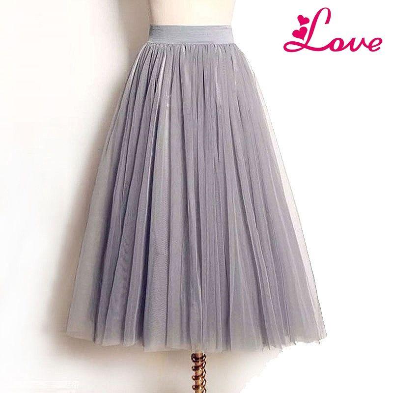40ce69a5c485d Lucia clothes Summer Vintage Skirts Womens Elastic High Waist Tulle Mesh Skirt  Long Pleated Tutu Skirt Women Saias Midi Faldas Jupe High Quality Tutu Skirt  ...