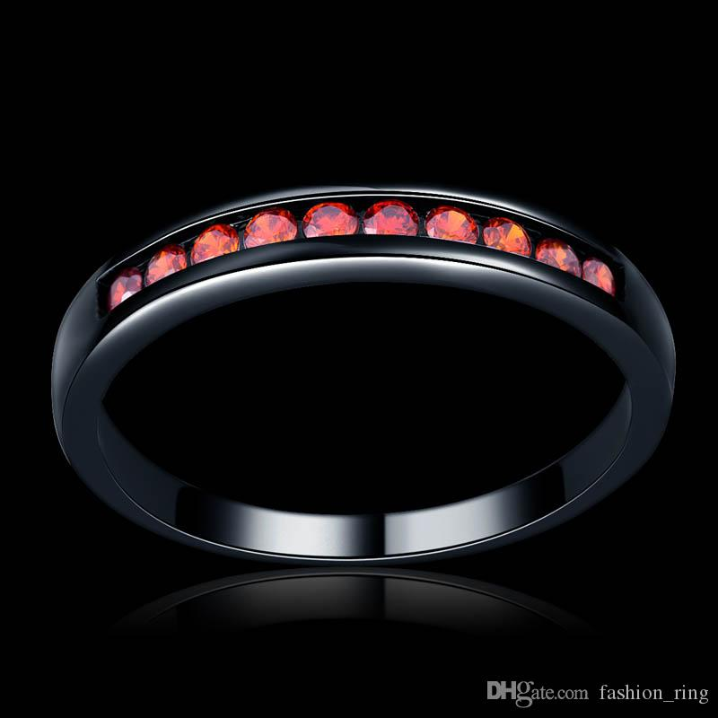 Vintage Black Gun filled red pink purple Opal Rings for Women Wholesale Fashion Jewelry Party Cocktail Ring For Women 1706