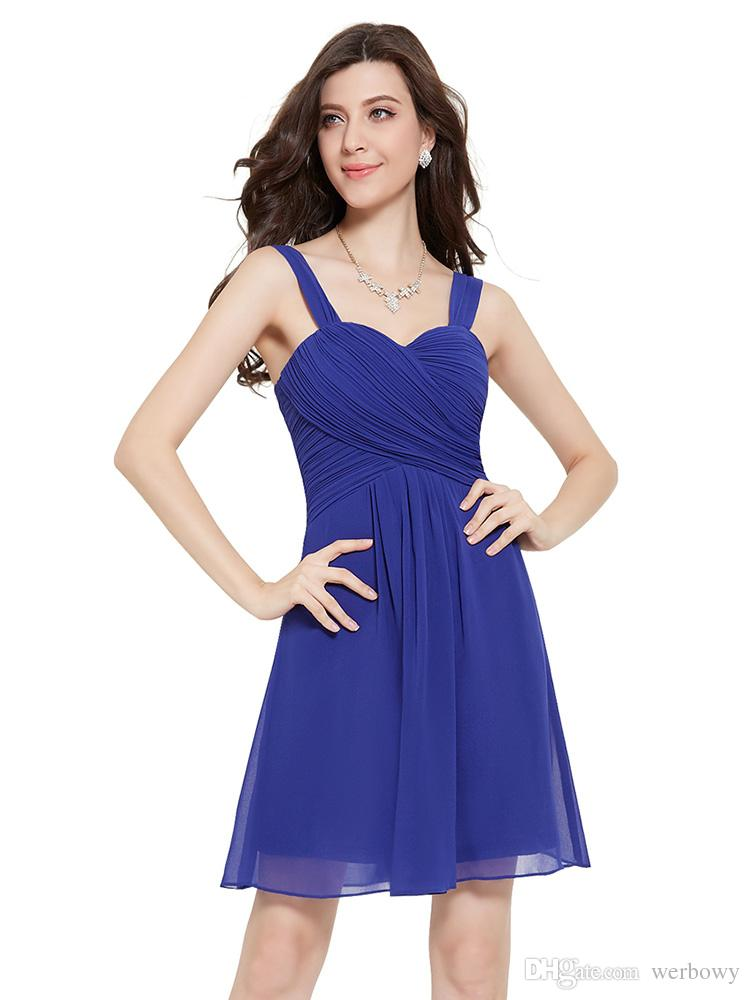 Shoulder Short Prom Dresses Sexy Halter Chiffon Blue Purple Cocktail Party Bridesmaid Skirt Small Dresses HY146
