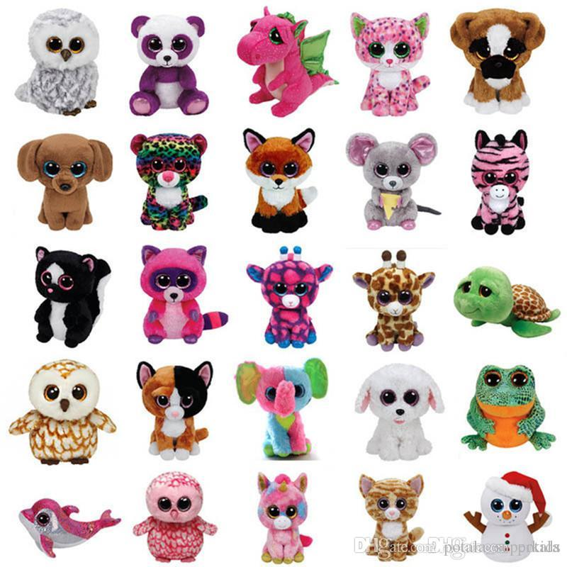 2019 18CM Ty Beanie Boos Plush Toys Stuffed Animals Dolls Juguete Big Eyes  Owl Unicorn Cat Elephant Penguin Leopard Foxy Dog Rabbit Giraffe Panda From  ... 90f3c38bf675