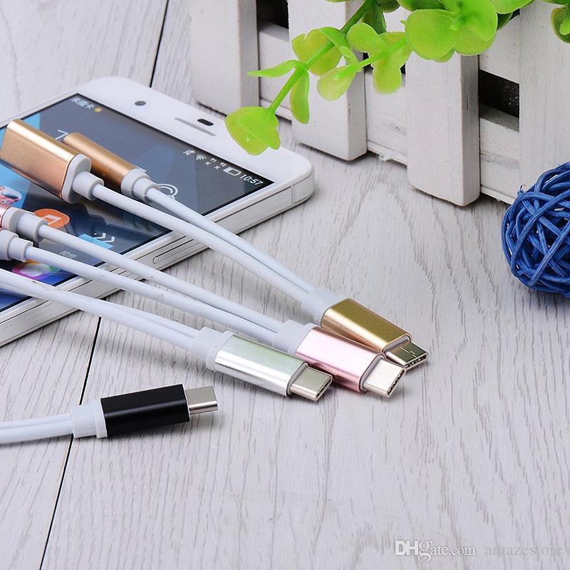 2 в 1 Зарядное устройство и аудио Тип C Наушники для наушников Джек Адаптер Разъем Кабель 3.5 мм AUX Наушники Джек Аудио Адаптер для Samsung Galaxy S8