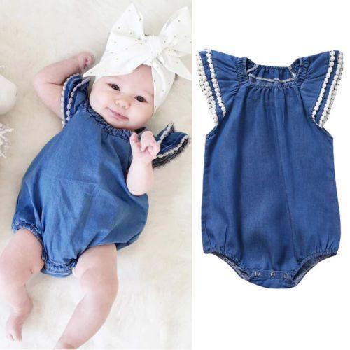 106cd00e3f64 Denim tassels infant baby girls romper sleeveless jumpsuit solid color  sunduit bodysuit baby girl clothes wholesale kid clothing