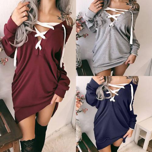 2f8bbda4cb Moda donna manica lunga maglione camicetta signore cinghie incrociate felpa  abito maglione pullover top