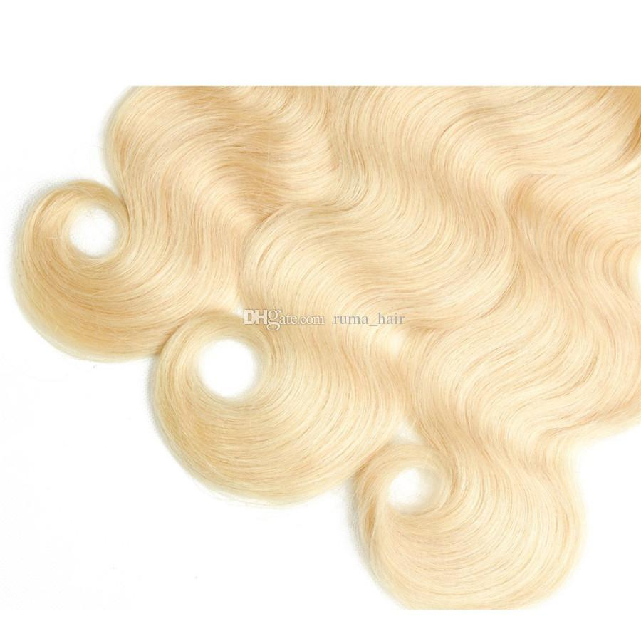Platinum Blonde Human Hair Bundles For Black Women 3 Bundles Deals #613 Body Wave Peruvian Virgin Hair Weft For Sale