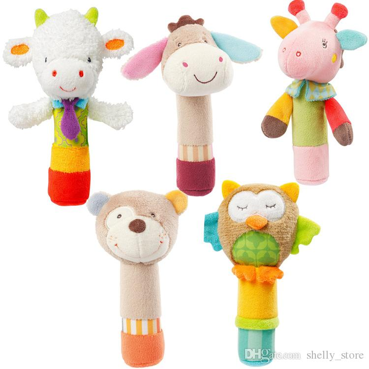 JJOVCE Baby Hand Rattle Comfort Hand Catch Animal BB Stick Baby Squeaker Hand Puppet Doll Newborn Toy