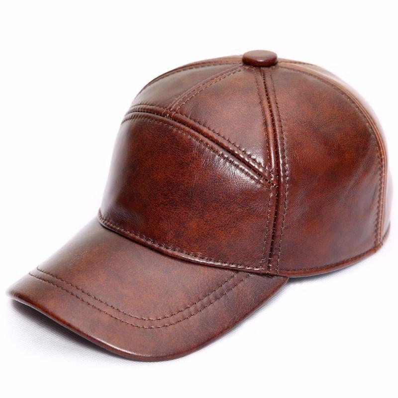 a45a44ff Men s Genuine Leather Hat Autumn Winter Men s Cowhide Baseball Cap Male  Outdoor Sunshade Leather Baseball Cap Adjustable B-8650