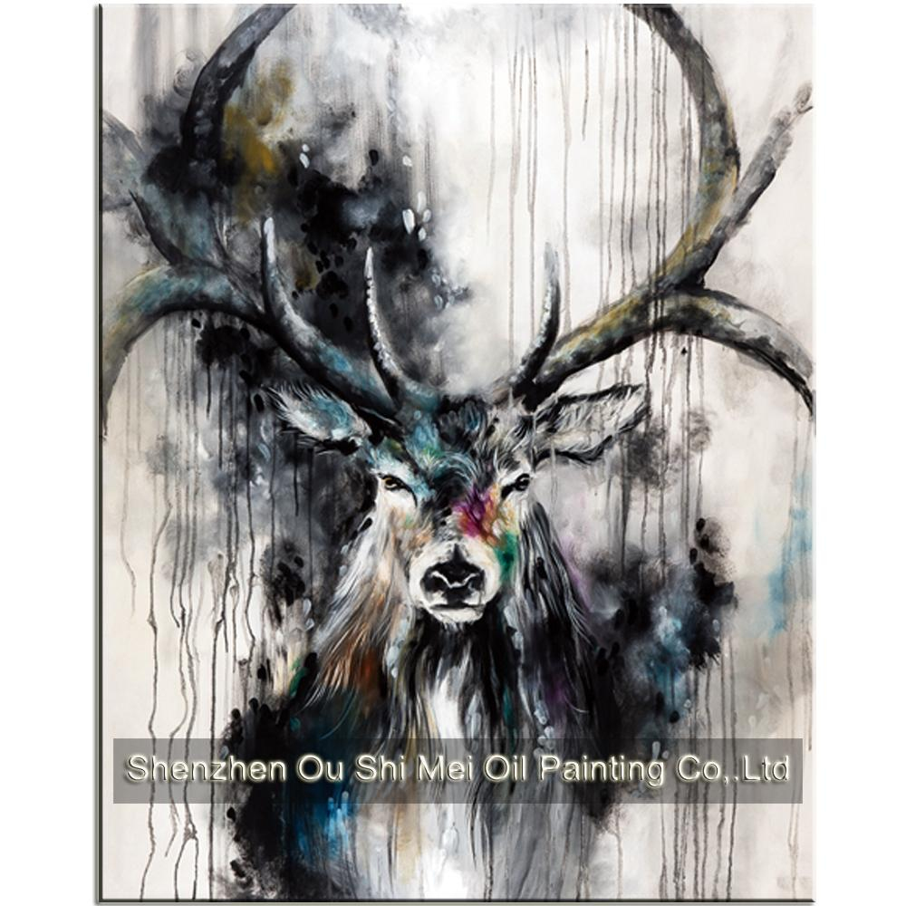 2019 new 100hand painted beautiful black white deer paintings inky color antler animals oil painting on canvas for living room decor from yuntengfu44190