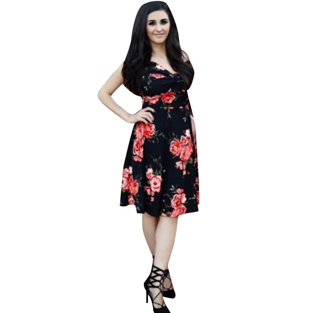 1299358badc Summer Dress 2019 Bohemian Style Mom Me Lady Floral Print Sleeveless Flower  Dress Family Outfits Clothes Vestidos De Festa Black Womens Clothing Cheap  ...
