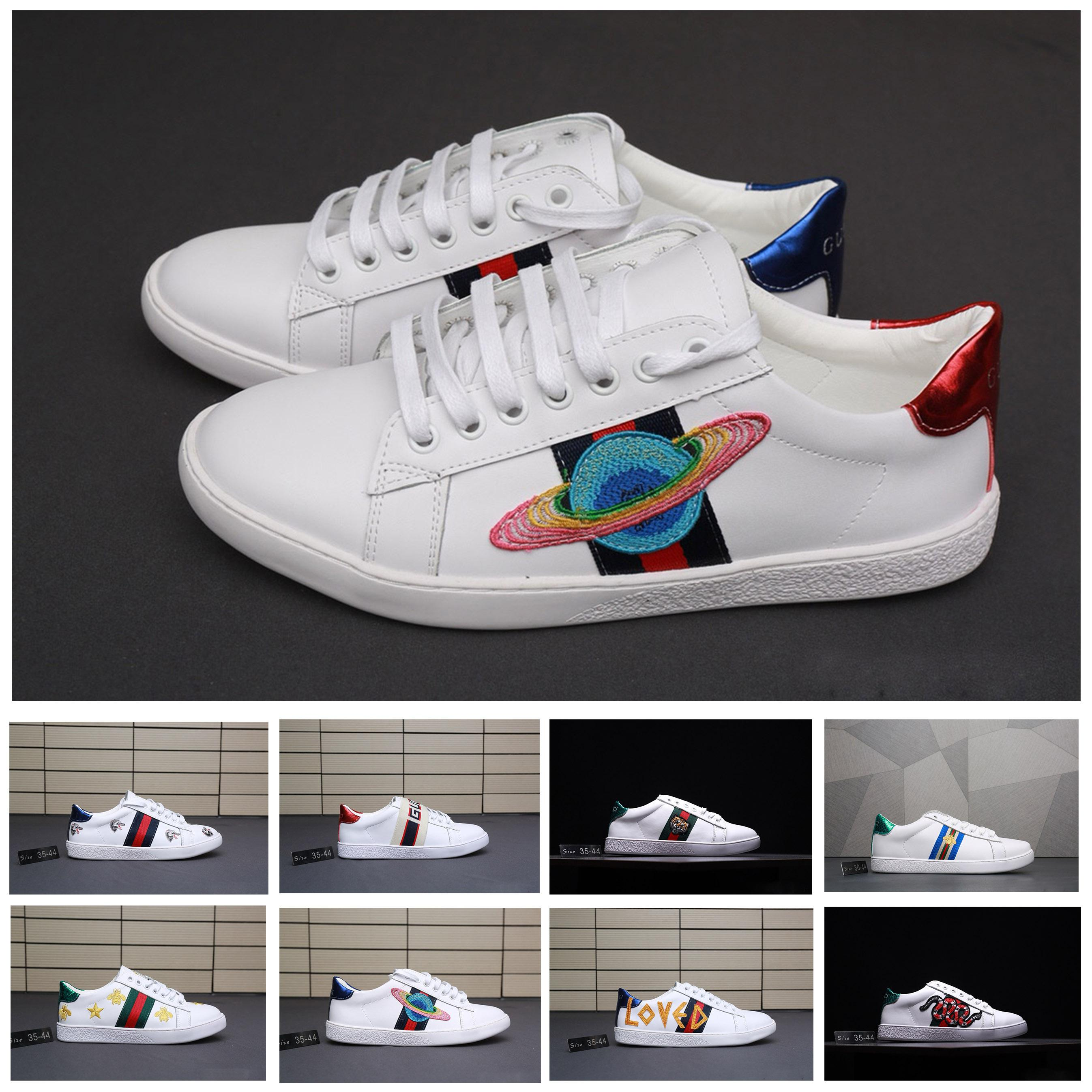 Acheter Gucci Shoes Gucci Men Shoes Chaussures Designer Luxe Chaussures  Blanc Casual Femmes Baskets Zapatos Belle Broderie Chaussures De Designer  Abeille ... d78ece62c18