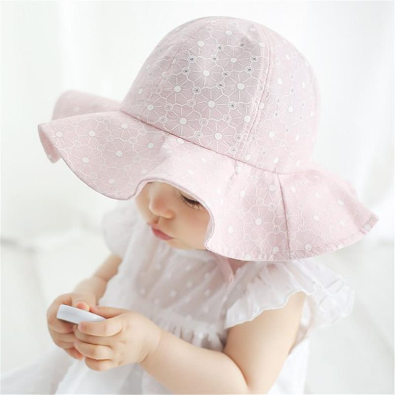 3848b738bf6 Baby Summer Outdoor Bucket Hat Children Floral Print Panama Cap Sun Beach  Cap Lovely Lace Princess Baby Girl Brim Sun Hats UK 2019 From Vipsmall