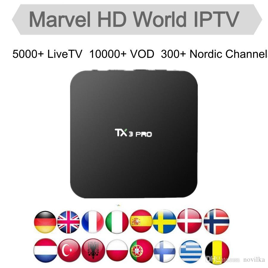 Marvel HD World IPTV Box TX3 Pro Android 7 1 Amlogic S905W with 12Months  IPTV subscription for Nordic Sweden France Germany UK USA