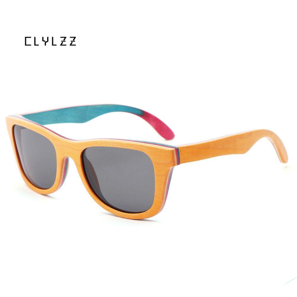 79fed8286e CLYLZZ Handmade Wooden Colorful Frame Sunglasses Polarized Gafas Eyewear  Eyeglasses Reflective Lens Men Women Bamboo Sunglasses Mens Sunglasses  Police ...