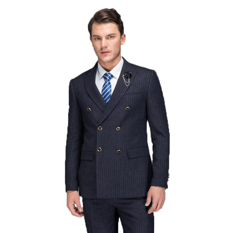 d389ed2a64 2019 Double Breasted Suit Men 2018 Latest Coat Pant Designs Formal Wear  Striped Suits Set With Pants Male Slim Fit Costume Prom Dress From Nevalee,  ...