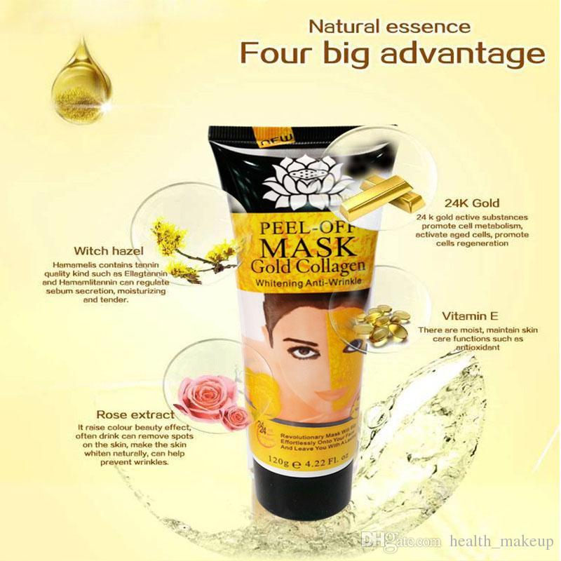 Peel Off Gold Collagen Máscara Facial Blanqueamiento Anti Winkles Máscara Facial Crystal Gold Powder Colágeno Máscara Facial Productos para el cuidado de la piel 120ML