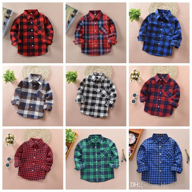 b9e7c2cd41e93 Kids Plaid Shirts Cotton Casual Boys Shirt with Pocket Long Sleeve Check  Tops Blouse New Fashion Kids Clothes 17 Designs YW1787
