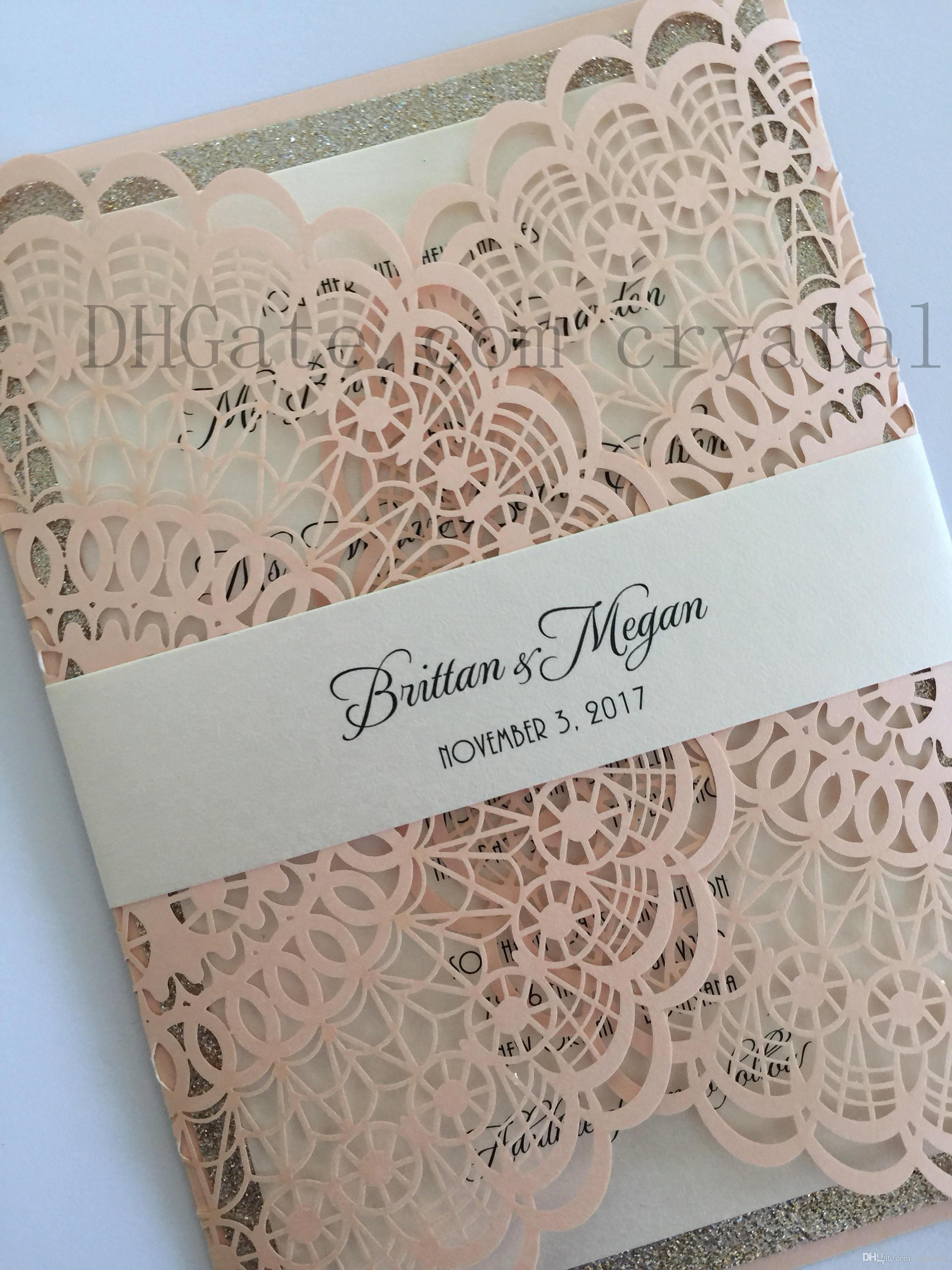 2018 Gorgeous Floral Invite Fancy Laser Cut Wedding Invitation Roses Doily Elegant Cheap Shower Invitations: Black Doily Wedding Invitations At Reisefeber.org